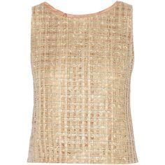 Oscar de la Renta Metallic tweed top (20.405 RUB) ❤ liked on Polyvore featuring tops, blusa, nude, metallic top, tweed top, oscar de la renta top, oscar de la renta and beige top