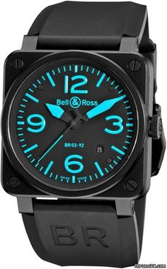 Bell & Ross BR03 $3,360 #Bell #watch #watches #chronograph Black PVD Oversized Stainless Steel Tang Buckle