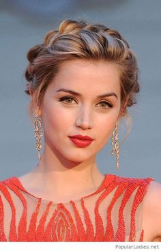 braided-updo-long-earrings-and-red-lips More