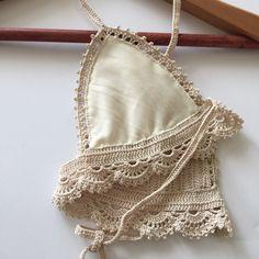 Lace Bralette crochet bralette crochet bikini top by yarnhole Motif Bikini Crochet, Crochet Bra, Crochet Blouse, Crochet Clothes, Bralette Pattern, Bra Pattern, Lace Bralette, Hippie Bikini, Pinterest Crochet