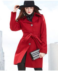 Kenneth Cole Reaction Coat, Wool-Blend Belted Trench - Womens Coats - Macy's