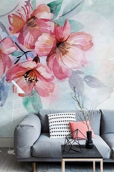 Pastel coloured living room with feature floral watercolor mural wallpaper. Painting Wallpaper, Wall Wallpaper, Adhesive Wallpaper, Painting On Wall, Living Room Wallpaper Accent Wall, Wallpaper Stickers, Wallpaper Patterns, Unique Wallpaper, Bedroom Wallpaper