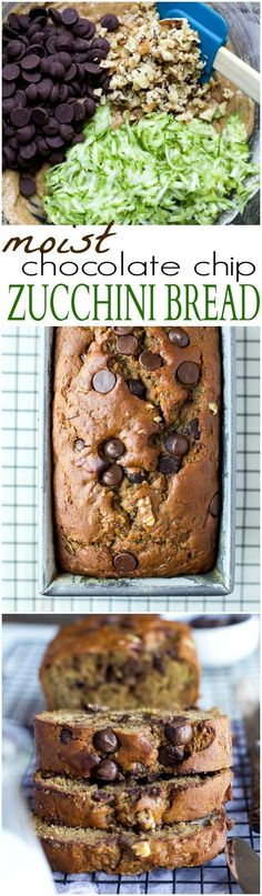 Bread Chocolate Chip Zucchini Bread - it's the Zucchini Bread Recipe you've been waiting for! This bread is moist, healthy from a…Chocolate Chip Zucchini Bread - it's the Zucchini Bread Recipe you've been waiting for! This bread is moist, healthy from a… Healthy Sweets, Healthy Dessert Recipes, Healthy Baking, Baking Recipes, Delicious Desserts, Yummy Food, Tasty, Just Desserts, Party Desserts