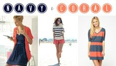 Navy Lace & Coral