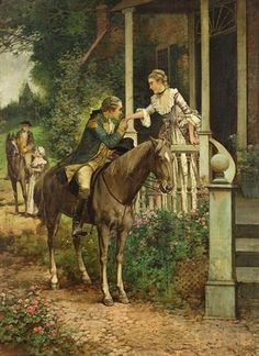 """""""Her Suitor"""" -- by Edward Percy Moran (American, 1862–1935)"""
