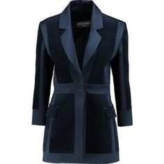 Balmain Satin-trimmed velvet jacket (£952) ❤ liked on Polyvore featuring outerwear, jackets, balmain, midnight blue, tie belt, balmain jacket, blue velvet jacket and blue jackets