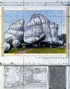 """Christo Wrapped Trees (Project for the Fondation Beyeler and Berower Park) Collage 1998 14 x 11"""" (35.5 x 28 cm) Pencil, enamel paint, photograph by Wolfgang Volz, wax crayon, topographic map, fabric sample and tape."""