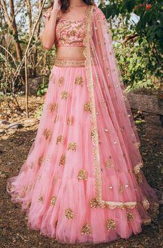 bollywood dress pink lehenga in net with gold work lehenga dress Half Saree Lehenga, Lehnga Dress, Indian Lehenga, Pink Lehenga, Bridal Lehenga, Net Lehenga, Sari, Saree Gown, Lengha Choli