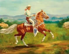 """A great painting of Roy Rogers and """"The Little Horse"""" (called that!) that replaced Trigger in """"Son of Paleface"""". He was the dancing """"Trigger"""" and was a Tennessee Walking Horse. Cowboy Art, Cowboy And Cowgirl, Palomino, All The Pretty Horses, Beautiful Horses, Decoupage, Tennessee Walking Horse, Horse Art, Horse Horse"""