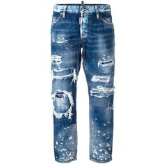Dsquared2 ripped Boyfriend jeans ($775) ❤ liked on Polyvore featuring jeans, pants, blue, boyfriend jeans, blue jeans, cropped jeans, destroyed jeans and destructed jeans