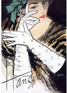 Super glamorous vintage Hansen ruched glove ad. #1950s #gloves #ads