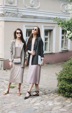 Платье-комбинация на тонких бретельках из шёлка кофейного и лавандового  цветов. Пиджак прямого кроя из тонкой шерсти в крупную серую клетку и мелкую коричневую. Moscow, Duster Coat, Photo And Video, Clothing, Jackets, Fashion, Tall Clothing, Down Jackets, Moda