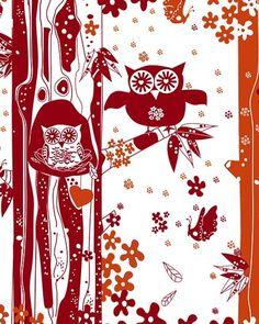 Owls Nesting, red Saffron Craig by felicia