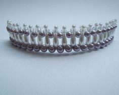 Pretty Pale Purple and Pearl Beaded Tiara by CreativeCalling1