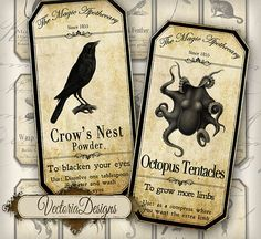 Magic Animals Apothecary Bottle Labels Jar Labels Tags Halloween printable…