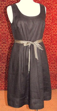 BANANA REPUBLIC brown linen sleeveless below knee fit & flare dress 10 (TC201C6F #BananaRepublic #fitflare #WeartoWork