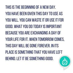 I bought this message on a poster yesterday. Why? I want to be reminded to make every day count. I want to be reminded that I am capable of more than getting through the days and getting things done. I am exchanging a day of my life for the things I do today! So are you!  #riseandshine