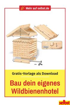 Create more living space for wild bees: Build your own wild bee hotel. With the free instructions fo Bug Hotel, Clean Out, Wild Bees, Vegetable Garden Tips, Herb Garden, Free Hotel, Design Jardin, Diy Wall Shelves, Backyard Playground