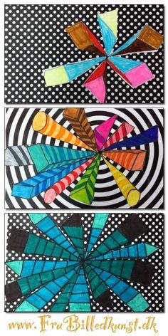 4. klasse har arbejdet med perspektivtegning i sin simpleste form - former med ét forsvindingspunkt.   Efter optegningen har de farvet med tusser eller farveblyanter og klippet figuren ud. Baggrundene har jeg lavet på computeren.