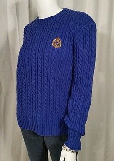 Womens Ralph Lauren Anchor Crest Long Sleeve Cable Knit Crewneck Sweater Size M