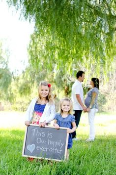 Love the setup of this photo but with a pregnancy announcement on the chalkboard!