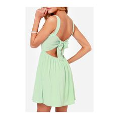 Rotita Mint Green Bow Back Strappy A Line Dress ($29) ❤ liked on Polyvore featuring dresses, green, print dress, green mini dress, sleeveless a line dress, green dress and a line dress