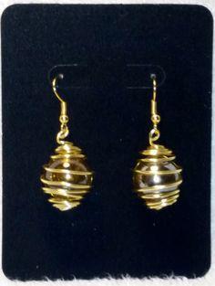 Distinctive handmade Gold Marble Earrings by FireryangelCreations
