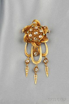 18kt Gold and Rose-cut Diamond Knot Brooch