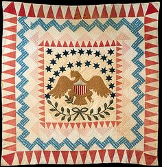 Quilt, Eagle pattern    Date:      ca. 1837–50  Geography:      New England, United States  Culture:      American  Medium:      Cotton  Dimensions:      103 x 97 in. (261.6 x 246.4 cm)  Classification:      Textiles  Credit Line:      Gift of Mrs. Jacob Kaplan, 1974  Accession Number:      1974.32    This artwork is not on display
