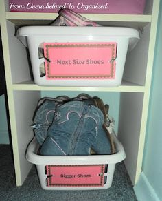 Great ideas for a girls' closet organization! Simple and inexpensive!