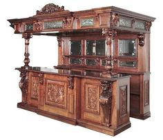 Solid Mahogany Lion Home Pub Canopy Bar w/ Stained Glass Furniture Care, Large Furniture, New Furniture, Victorian Furniture, Antique Furniture, Home Pub, Antique Bar, Home Bar Designs, Pub Bar