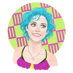 Hayley #14. Look: Monumentour - Summerfest, Milwaukee. blue hair, hayley williams, paramore, hairstyles, illustration.