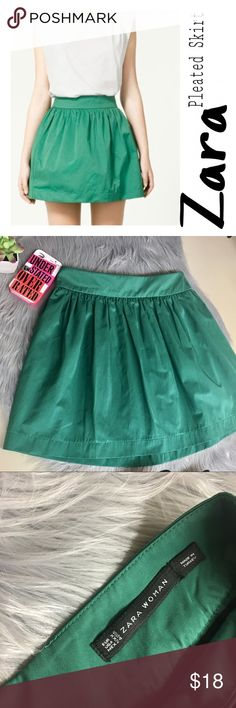 Zara Woman Pleated Green Skirt Zara Woman Green Pleated Skirt-model picture appears a tad lighter due to lighting-Zip up back-Material:Polyester and Cotton-(picture #7 I accidentally burned while ironing, there may be another iron mark or two, but I checked over and over and only can find this one). Perfect starter piece for all those fashion lovers out there! Add some heels&a sexy top, and you have legs for days and are turning heads!🔹please note different lighting affects color🔹offers…