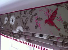 Beautiful Harlequin silk waterfall blind with contrast suede beads in hot pink. All our work is bespoke and hand finished. Make Roman Blinds, How To Make A Roman Blind, Roman Curtains, Diy Blinds, Drapery, Wave Curtains, Curtains With Blinds, Made To Measure Curtains, Pelmets