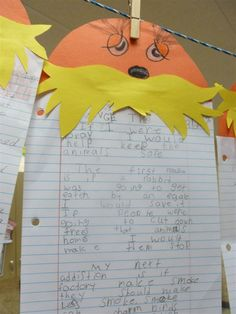 Lorax writing activity...If you could be Lorax for the day, what would you do to make the world a better place?