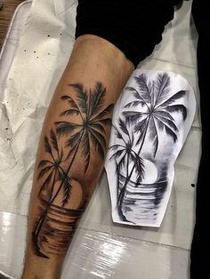 30 palm tree tattoos for summer vacation - Galena U. - 30 Palm Tree Tattoos For Summer Vacation - Tropisches Tattoo, Tree Sleeve Tattoo, Forarm Tattoos, Body Art Tattoos, Tattoo Tree, Leg Tattoo Men, Arm Tattoo Ideas, Tatoos, Lower Leg Tattoos