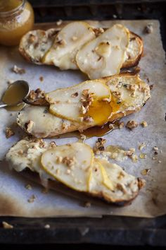 pear tartines with blue cheese and honey