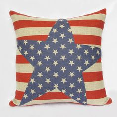 1 linen USA American star  flag  red blue  throw pillow cover / decorative pillow case / cushion cover. $20.00, via Etsy.