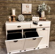 Tilt-Out Trash Can Cabinet Hide the trash can in plain sight! I partnered with L. Recycling Bin Storage, Can Storage, Storage Bins, Kitchen Storage, Kitchen Organization, Storage Ideas, Budget Storage, Cabinet Storage, Organizing