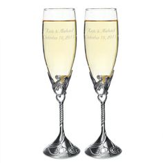 Wedding toasting glasses are available for every style wedding and theme. Many wedding toasting flutes can also be personalized with the couples' names and wedding date. Wedding Toasting Glasses, Wedding Champagne Flutes, Toasting Flutes, Bridal Accessories, Unique Weddings, Wedding Reception, Tableware, Satin Finish, Marriage Reception