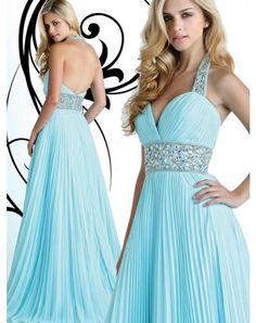 Sexy A-line Straps Rhinestone Sleeveless Floor-length Chiffon Prom Dresses