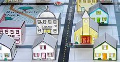 """Sensory or Blocks- 3D Town- This site provides a download for creating these cute community buildings that are labled """"church"""", """"school"""", etc.!"""