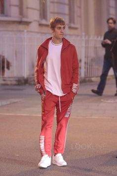 Justin Bieber wearing  Adidas Pharrell Williams 'Hu Race' Track Jacket, Supreme Rib Logo Athletic Top, Adidas Pharrell Williams 'Hu Race' Track Pants, Nike Air Max 1 Pinnacle Sneakers