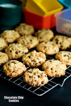 Soft, chewy, not too sweet, and almost addicting Chocolate Chip Cookies. So tasty and comforting, it is hard to stop at just one.   RotiNRice.com