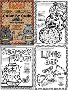 Boo!!!  Are you ready for some Halloween fun? This file includes 12 math color by code pages that cover the basic addition facts with sums of 0-20. These sheets can be used as centers, bell ringers, homework, skill reinforcement, work for early finishers... Use of these pages encourages and reinforces skills taught; yet the students are having fun while learning. My kiddos love these sheets! TPT $