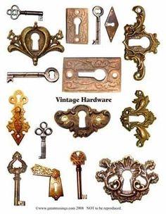 Download digital collage sheet ESCUTCHEON skeleton keys VINTAGE HARDWARE efile uprint (310)