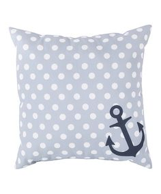 Slate Polka Dot Anchor Throw Pillow By Surya