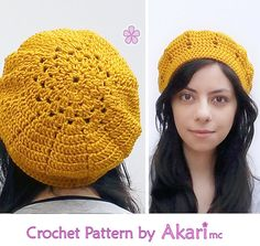 Crochet beret PDF pattern. Easy level crochet pattern _ L03 by AkariCrochetPatterns Find it now at http://ift.tt/1qxyFXm!