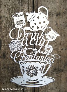 Original Papercut, Drink a Cup of Creativitea Picture, Tea Party Themed Papercut Art Kirigami, Papercut Art, Paper Cutting Templates, Paper Crafts, Diy Crafts, Silhouette Cameo, Silhouette Studio, Projects To Try, Welding Projects