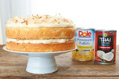 Pineapple Cake with Coconut Frosting - get the recipe at barefeetinthekitchen.com